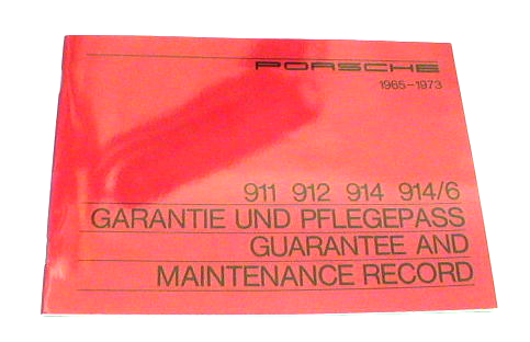 911 Guarantee & Maintenance Book 1965-73