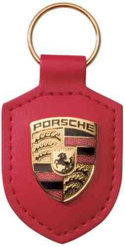 Porsche Leather Crested Keyfob Red