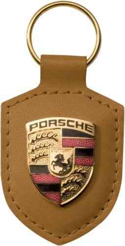 Porsche Leather Crested Keyfob Tan