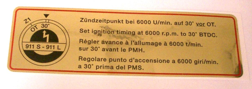 911 1967-68 Timing Sticker