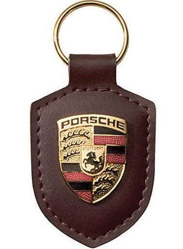 Porsche Leather Crested Keyfob Brown