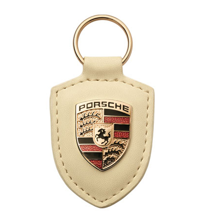 Porsche Leather Crested Keyfob Cream