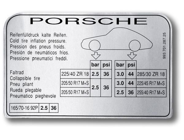 993 Turbo Tyre Pressure Sticker