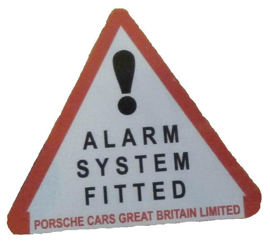 Porsche Cars Great Britain Security System Sticker