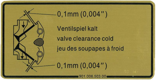 911 1964-89 Valve Clearance Sticker