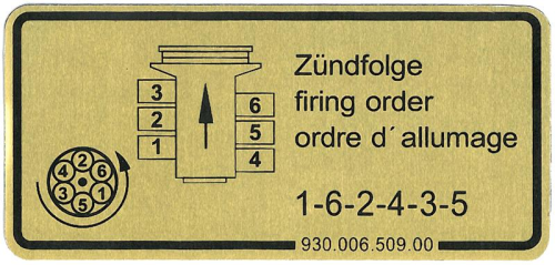 911 1979-83 Firing Order Sticker