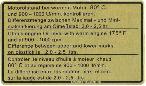 911 1978-80 Oil Level Sticker