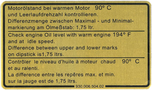 911 1981-89 Oil Level Sticker