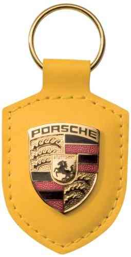 Porsche Leather Crested Keyfob Yellow