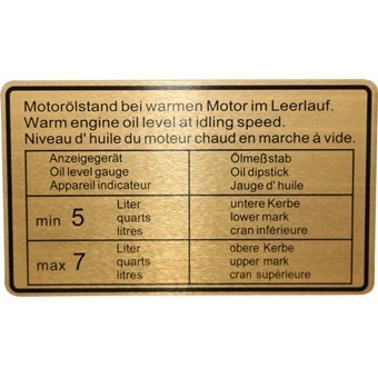911 1970-72 Oil Level Sticker