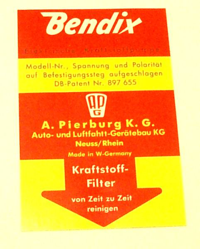 Bendix Fuel Pump Sticker