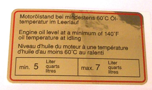 911 Oil Level Sticker