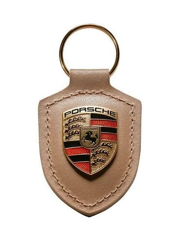 Porsche Leather Crested Keyfob Beige