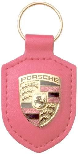 Porsche Leather Crested Keyfob Pink