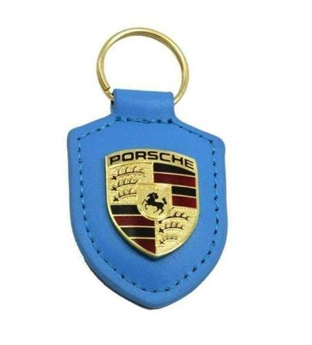 Porsche Leather Crested Keyfob Light Blue